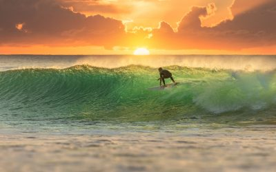 Surfer Surfing at Sunrise on a perfect wave